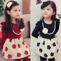 2014 spring and autumn spring flower girls clothing baby child long-sleeve dress qz-1198 children's clothing girls dress