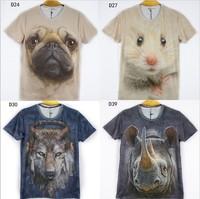 (Alice)2014 new anima printing 3D t shirt men/women short sleeve o neck high quality cotton men tshirt 21 models free shipping