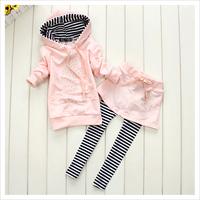 Rhinestone Mickey Hoodie + Skirt Overlaid Striped Leggings Clothing Sets for Girls, Rhinestone Minnie 2Pcs Suits for Kids 3~6Y