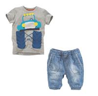 1set Retail, NEW 2014 kids wear boys children clothing set 100% cotton car t shirts + jeans children's clothes sets suits