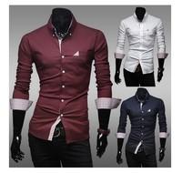 2014 new fashion men slim long shirts ,men shrits m-XXL