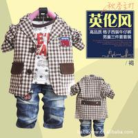 2014  children's Clothing Sets cotton   coat+T-shirt+pants baby boy kids three piece  sets