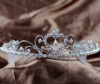 Love Wedding Crown Bridal Bride Heart Rhinestone Crystal Tiara with Hair Combs Headband Girl Fashion Silver Jewelry