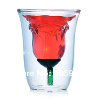 Love roses cup High heat-resistant borosilicate glass double Art glass Red wine Creative cup
