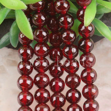 Free Shipping Fashion Jewelry A++6MM Round Natural Garnet Beads Strand 15.5″ (80 beads) C201