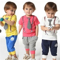 Hot Selling High Quality 100% Cotton 2014 spring-summer new arrived casual sport tie children baby boy clothing sets kids suit