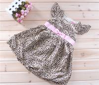 279 powder leopard print belt one-piece dress summer fashion pink belt butterfly sleeve leopard print one-piece dress