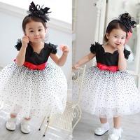 298 black dot princess dress summer exquisite female child bow one-piece dress princess dress