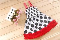 239 female child black dot print laciness spaghetti strap skirt 0.5kg 24 5 120