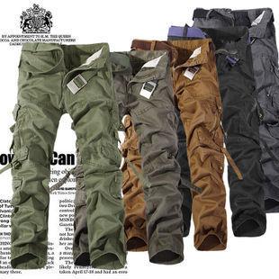 Spedizione gratuita quattro stagioni lavato Multi- tasca uomini tuta stile esercito pantaloni pantaloni larghi pantaloni da uomo escursionismo campeggio viaggio