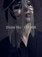 FREE SHIPPING 2014 STYLE BY-01 WOMEN FASHION GRAY-BLACK COLOR PLATED METAL CHAIN MULTI-LAYERS BODY CHAIN HEAD FACE CHAIN JEWELRY