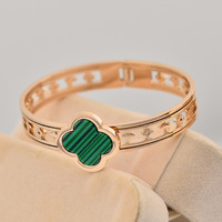 SYB059 Wholesale Clover 316L titanium Stainless steel bangles bracelets Pulseiras Pulseras Brazalete women Mujer