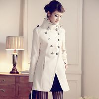 Fashion vintage military double breasted woolen overcoat