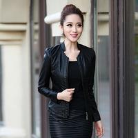 Free shipping 2014 spring gentlewomen brief sheep genuine leather clothing female slim design elegant short coat female