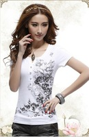 2014 free shipping  fashion Women's T-shirts slim fit cotton Printing Short sleeve T-shirt
