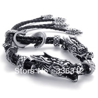 BA-1121389 silver stainless steel bracelet mens adjustable powerful Manual Genuine leather dragon cool super solider cool great