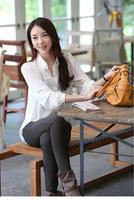 2014 New Hot Sale Fashion Cotton White Chiffon Ladies' Blouse shirt for Women Tops Clothes bouffancy design free shipping
