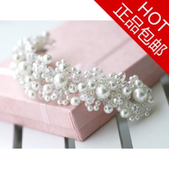 Lengthen edition pearl crystal the bride hair braid marriage wedding hair braid 1930
