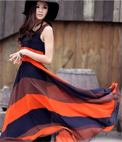 Hot 2013 Boho Summer Women's Color Block Chiffon Long Pleated Stripe Sleeveless Dresses Casual Dress B50 NZ017