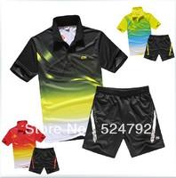 2014 New Li Ning Badminton men Free LI-NING MEN SHIRT badminton shirt+shorts badminton shirt