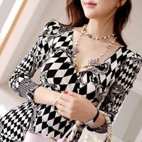 2014 New Women Lady Print Slim V-Neck Long Sleeve Elegant Party Club Mini One-Piece Dresses