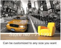 Free shipping New York Taxi Mural Wallpaper Modern Wallpaper Murals