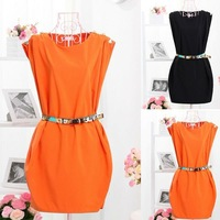 FREE SHIPPING CREW NECK SLEEVELESS BUTTON-SHOULDER TUNIC DRESS WITH BELT B28 NZ027
