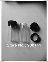 10ml Wide mouth glass vials glass bottles 22X 50 mm, 10ml,  Neck Finish 20-400 comes with black screw plastic caps, 100pcs