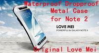 Original Love Mei Life Dirt proof Waterproof Waist Metal Case For Galaxy Note 2 N7100 + Gorilla Glass,MOQ:1pcs + Free Shipping