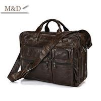 M&D New Arrivals 100% Genuine Leather Briefcase Vintage Portfolio Handbag Messenger Bag