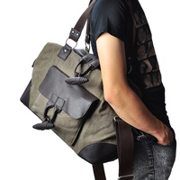 Vegoo bag shoulder bag travel bag canvas bag male vintage