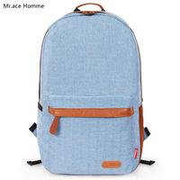 Mr . ace simple preppy style canvas female bag backpack school bag male casual backpack travel backpack
