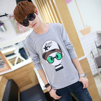 Spring male t-shirt male T-shirt cartoon long-sleeve o-neck t-shirt slim basic shirt men's clothing
