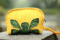 New Arrival Ladies Wrist Purse Handbags Fashion Women's Cosmetic Bag Makeup Case Yellow Canvas Leaf Patchwork Decor Handcrafted