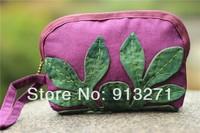 2014 New! Purple Clutch Bag Designer Purse Handbag Ladies Canvas Cosmetic Bags Makeup Pouch IPHONE Bag Leaf Patchwork Decor
