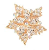 Wholesale Korean fashion full of crystal Broochs double maple leaf alloy brooch scarf buckle wedding gifts