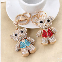 Free shipping fashion accessories car key chain crystal jewelry bag charm brand rhinestone bear key ring holder NC475