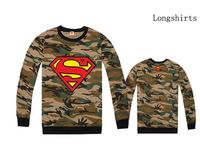 Long Sleeve MENS Loose style Superman LOGO DIAMOND Camouflage TOPS  Hip hop rap Crewneck Sweater New Sweatshirt
