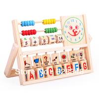 Wooden toys Digital Geometry Clock Children's learning & education toys baby boys girls building blocks math toys
