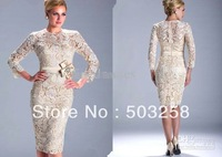 DH5 Free Shipping Formal High Neckline Short Style Lace Long Sleeves Mother Dress