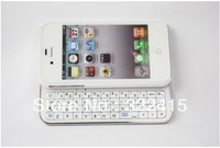 FOM Ultra-thin Wireless Bluetooth 2.0 Slide-out Back Light Keyboard for iPhone4/4S-White free shipping