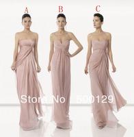 Wholesale Hot Strapless Sleeveless A-Line Custom Made Long Chiffon Bridesmaid Dresses 2014
