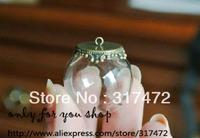 Free Ship!  25mm Glass Golble 15mm bottleneck vial & Base set glass bottle glass vials Jewelry pendant DIY