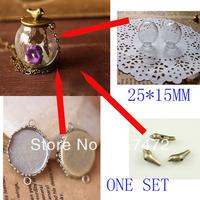 Free Ship! 20set  25mmx15mm(opening) Glass globe & base &  antique bronze bird set glass bottle glass vials pendant DIY