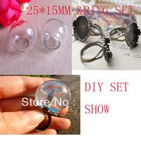 Charm 10sets 25mmx15mm(opening) Glass bulb vial & ring setting set glass bottle glass vials pendant DIY