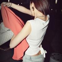 New Summer women's 2014 trend slim waist behind the bow all-match white sleeveless T-shirt