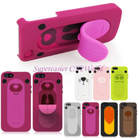 3D OZAKI Animals Tongue Snap Handsfree Stand Kickstand Case & Screen Guard For iPhone 5 5S Free Shipping