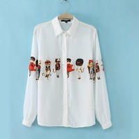 2014 Spring New Cartoon Cat Person Lapel Long-sleeved Chiffon Shirt 4J129