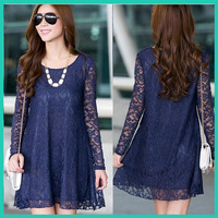 2014 spring and summer women clothing   long-sleeve plus size 4XL slim lace one-piece dress crochet long design one-piece dress