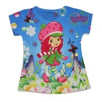 wholesales 2014 new style summer kids T-shirt sky blue girls tee shirts strawberry full print girls t-shirts(2T-6T) 5pcs/lot